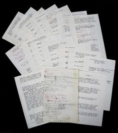 "A group of pages with some of Monroe's lines from the film Bus Stop. Five pages have the lead in to Monroe's lines added in red ink in another hand, likely Paula Strasberg. The notes read in part, ""Waking up - scene/ Headache/ tiredness - headache / go to sleep/ I don't want to be here"" and ""first scene with Vera/ I tell it as a/ told as a fairy tale/ Once upon a time."""