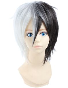 Angelaicos Unisex Two Tone Layered Cosplay Costume Party Wigs Short Black White Angelaicos http://smile.amazon.com/dp/B00JL6N0QU/ref=cm_sw_r_pi_dp_AM5iwb055HV7E