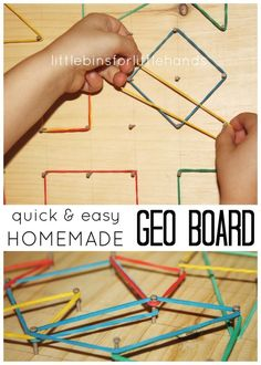 Homemade Geo Board is a simple DIY STEM project for mathematics. Geo boards are great for preschool, kindergarten and grade school math. Learn about shapes and create patterns and design with an easy to make wooden geoboard using nails and rubber bands!