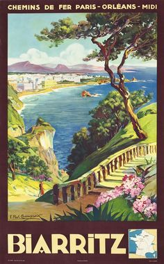Biarritz - Chemins de Fer Paris, Orleans, Midi by Champseix, E. Paul | Vintage Posters at International Poster Gallery