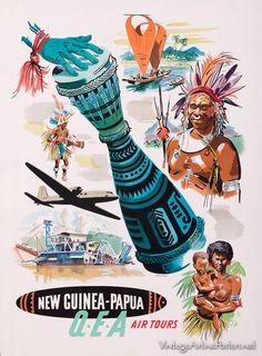 New Guinea-Papua -QEA(Qantas Empire Airways) poster