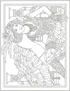 Steampunk. Artwork by Marty Noble. From Creative Haven Steampunk Fashions Coloring Book, Dover Publications. Adult Coloring.