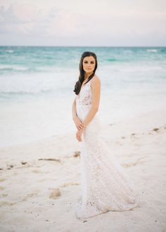 Light weight lace Inbal Dror wedding gown: http://www.stylemepretty.com/little-black-book-blog/2016/10/07/elegant-tulum-wedding/ Photography: Sean Cook - http://seancookweddings.com/