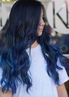 We've got some awesome denim hair color ideas coming up, but first some tips on choosing the right shade of denim blue hair color, aftercare, and style tips. Denim Blue Hair, Dark Blue Hair, Hair Dye Colors, Ombre Hair Color, Cool Hair Color, Blue Ombre, Royal Blue Hair, Navy Hair, Dark Ombre