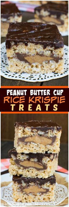 Peanut Butter Cup Rice Krispie Treats - these easy no bake treats have a hidden layer of candy bars inside.  Great dessert recipe!