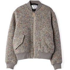ACNE STUDIOS Tyson Bomber Jacket ($720) ❤ liked on Polyvore featuring outerwear, jackets, coats, tops, coats & jackets, dark multi, blouson jacket, brown jacket, flight jacket and bomber jacket