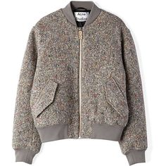 ACNE STUDIOS Tyson Bomber Jacket ($720) ❤ liked on Polyvore featuring outerwear, jackets, coats, coats & jackets, dark multi, bomber style jacket, zip front jacket, brown jacket, bomber jacket and brown bomber jacket