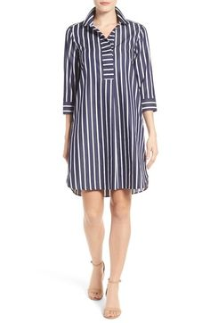 Foxcroft Foxcroft Club Stripe Shirtdress (Regular & Petite) available at Trendy Dresses, Nice Dresses, Casual Dresses, Casual Outfits, Fashion Dresses, Summer Dresses, Women's Dresses, Bodycon Outfits, Non Iron Shirts