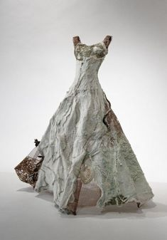 Christina Chalmers, Mother Sea (Raw Silk & Wool, Handmade Felt, Kelp, Shells and Vintage Silk) textile art fashion couture ball gown