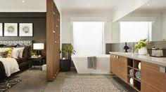 Diseño de cuarto de baño en dormitorio