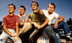 """Gordie Lachance (Will Wheaton) Vern Tessio (Jerry O'Connell) Teddy Duchamp (Corey Feldman) Chris Chambers (River Phoenix)  in the movie 'Stand By Me.""""  Movie is from a short story by Stephen King.  Great story that made an even better movie.  Fell in love with River Phoenix."""