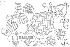 Valentines Day Embroidery patterns,  1985 holiday valentines day hearts