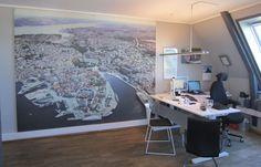 Kontor. Lyddempende bilder til Markedsføringshuset Stavanger Veggabsorbent med print, tekstil overflate og 25mm tykk – Markedsføringshuset Stavanger.