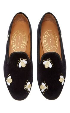 Bees Black Slipper by STUBBS & WOOTTON for Preorder on Moda Operandi