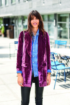 CORE ITEM: VELVET BLAZER ~ I like the burgundy against my denim work shirt-the color pops in a very cool way.