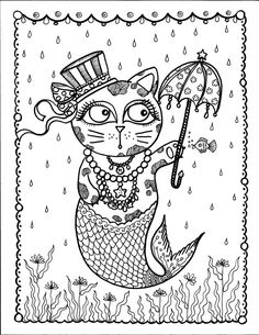 Instant Download Merkitty and Umbrella Coloring by ChubbyMermaid