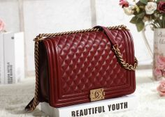 9a6dd08d50 2014 Chanel bag original leather gold chain 67087 wine red -  199.00 New  Handbags
