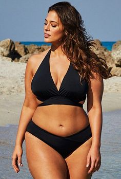 Ashley Graham x Swimsuits For All Ambassador Black Wrap Halter BikiniYou can find Ashley graham and more on our website.Ashley Graham x Swimsu. Halter Bikini, Halter Swimsuits, Swimsuits 2017, White Triangle Bikini, Black Bikini, Curvy Bikini, Black Bandeau, Sexy Bikini, Triangel Bikini