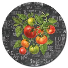 Love this Chalk Veggies Tomato Lazy Susan by CounterArt on This and the veggie measuring spoons would make a great wedding shower gift. Tomato Vine, Posters Vintage, Decoupage Paper, Lazy Susan, Kitchen Art, Kitchen Prints, Kitchen Dining, Dining Table, Serving Plates