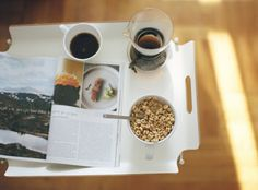 coffee, newspaper, ceral