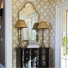 nice combination! Mirros, wallpaper, bureau