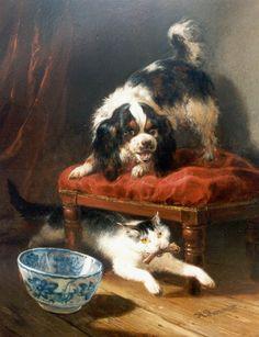 Henriëtte Ronner-Knip (Holanda/Alemania, 1821-1909). A stolen bone