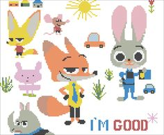Zootopia charcters pattern by Rainbowstitchcross