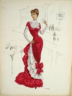 vintage fashion sketches | Vintage fashion #4 / Edith Head sketch for Carolyn Jones in Last Train ...