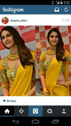 Love d combination of rajasthani blouse and plain yellow saree...