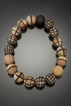 Beaded bead necklace by Barbara Packer. probably plain or multi-drop peyote stitch.