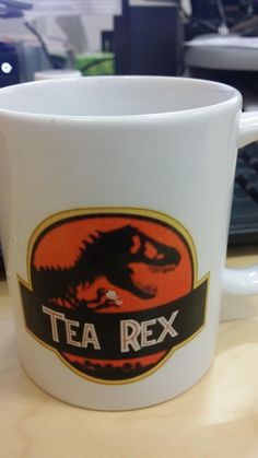 """The joke on this mug that was 65 million years in the making.   36 Things Everyone Who Loves """"Jurassic Park"""" Will Appreciate"""