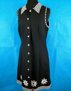 Gingham Black Linen Size 14 VTG 1990's Dress Lined Button Up Day EUC Casual  #PlazaSouth #FittedButtonFrontSheath #CasualDayDress