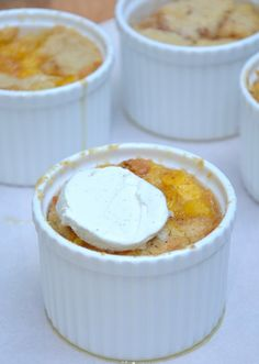 Easy peach cobblers baked in ramekins for individual servings and the cutest presentation. Clickthrough for the full recipe and more dessert recipes!
