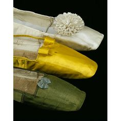 Vintage Shoes Giclee Print: Silk Satin Shoes in Yellow, Green and White, : - 1800s Fashion, 19th Century Fashion, Victorian Fashion, Vintage Fashion, Victorian Shoes, Fashion Fashion, Historical Costume, Historical Clothing, Jane Austen
