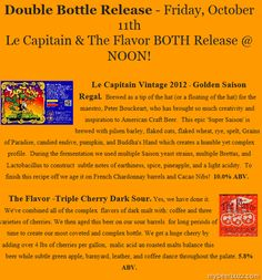 Trinity Brewing - 2012 GABF Events & Le Capitan / The Flavor Bottle Releases 10/11