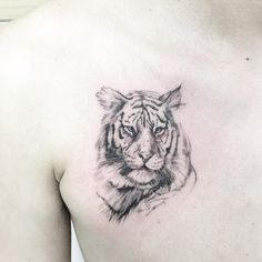 cool lined tiger tattoo idea on chest