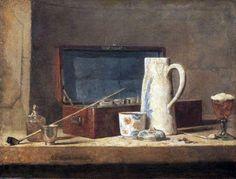 """Jean Siméon Chardin, """" Pipe e brocca bianca """", Louvre ( 1737 ), Parigi"""