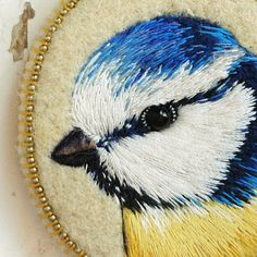 Blue Tit  bird . brooch . handmade . felt . needle от cOnieco, zł155.00