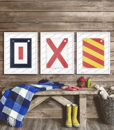 Three Nautical Alphabet Flag Prints - great for Monogram prints!!!  Choose any three letters of the alphabet (see photos for all letters) - just let me know in the Notes to Seller section what letters youd like when buying. Letters W, V, and Y shown in photo.  Please note that the grey and white diagonal stripes is part of the print to show contrast between the white parts of flags and the background :)  Take a look at more art prints in our home decor shop…
