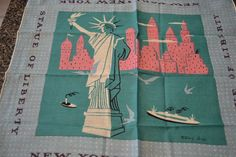 Vtg Tammis Keefe STATUE OF LIBERTY NEW YORK Hankie Handkerchief NEW OLD STOCK!!!