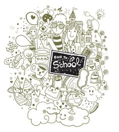 Hand drawn Back to school doodle set royalty free illustration