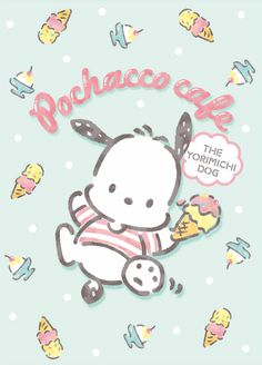 """pastel blue """"Dream of Colorful Milky Cones"""", as courtesy of Sanrio Sanrio Wallpaper, Kawaii Wallpaper, Iphone Wallpaper, Hello Kitty Characters, Sanrio Characters, Cute Characters, Hello Kitty Art, Hello Kitty My Melody, Pochacco Sanrio"""