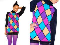 Vtg 80's Color Block Diamonds Turtleneck Sweater  http://www.etsy.com/shop/LuluTresors