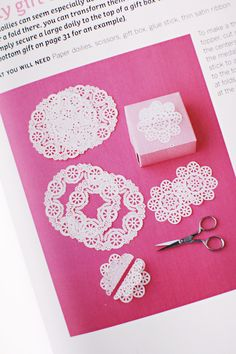 doily by melisa Paper Doily Crafts, Doilies Crafts, Paper Doilies, Diy Paper, Scrapbook Embellishments, Craft Tutorials, Craft Ideas, Card Tags, Diy Cards