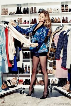 Behati Prinsloo visits the Who What Wear office in a Marc Jacobs tuxedo jacket and a velvet camisole dress.