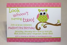 Cute Owl themed birthday party invitation by PaperMonkeyCompany, $1.10