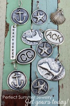 Celebrate the people in your life with jewelry from Simply Charmed. Custom hand stamped charms that allow you to keep your loved ones close to your heart! Summer Memories, Hand Stamped, Party Time, Charmed, Nautilus, Anchors, Pendant, Summer Outfit, Piercings