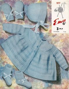 PDF Knitting Pattern Baby's Coat Set 3 Ply by MaggiesVintageHome