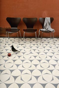 Les carreaux graphiques : Carreaux Bow A - cream/dark gray by contemporary tiles via Goodmoods