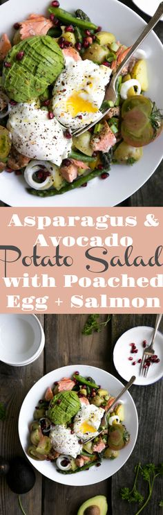 Asparagus and Avocado Potato Salad with Poached Egg and Salmon #salad #eggs #dinner #salad #potatoes #healthy #recipe #salmon #asparagus #easyrecipe #dinner